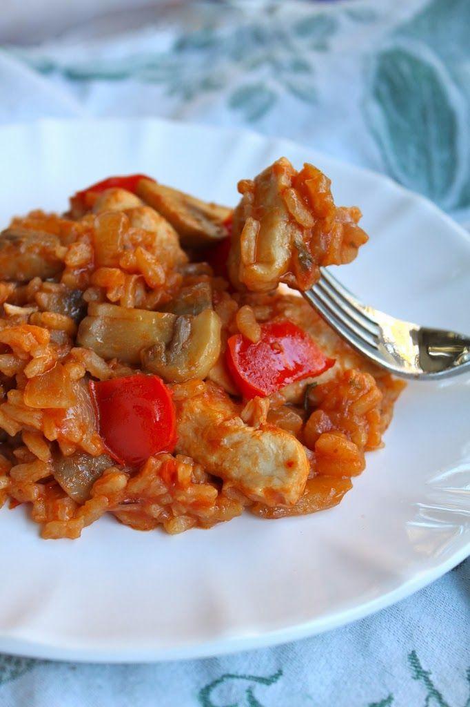 Mediterranean Chicken, Mushrooms and Rice, one pan weeknight meal wonder!