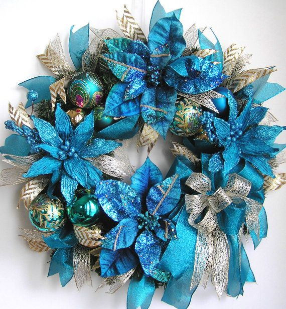 Royal Blue Christmas Ornaments Part - 45: Christmas Wreath, Christmas Door Wreath, Christmas Poinsettia Wreath,  Holiday Wreath, Royal Blue