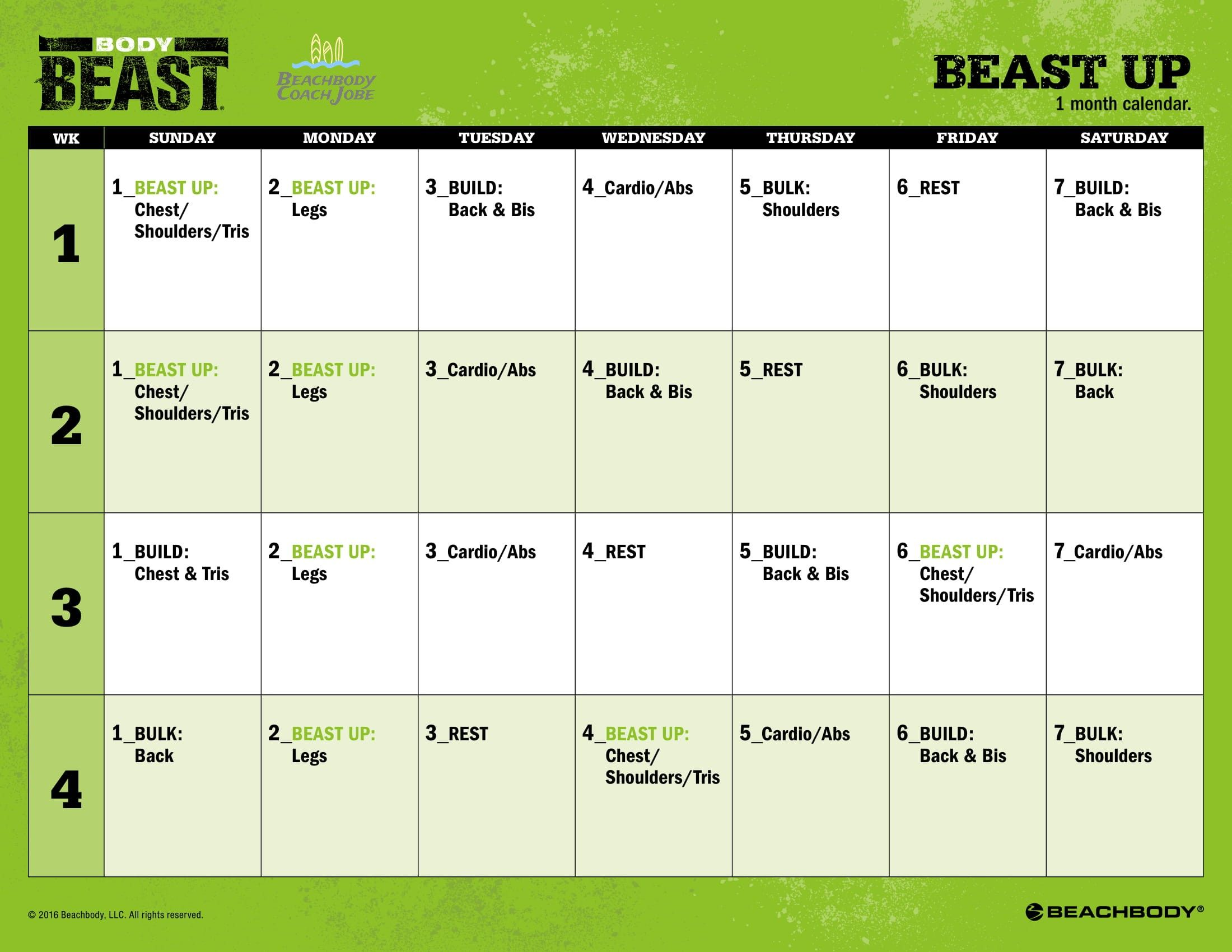 Body Beast Beast Up Calendar By Beachbody The Creators Of