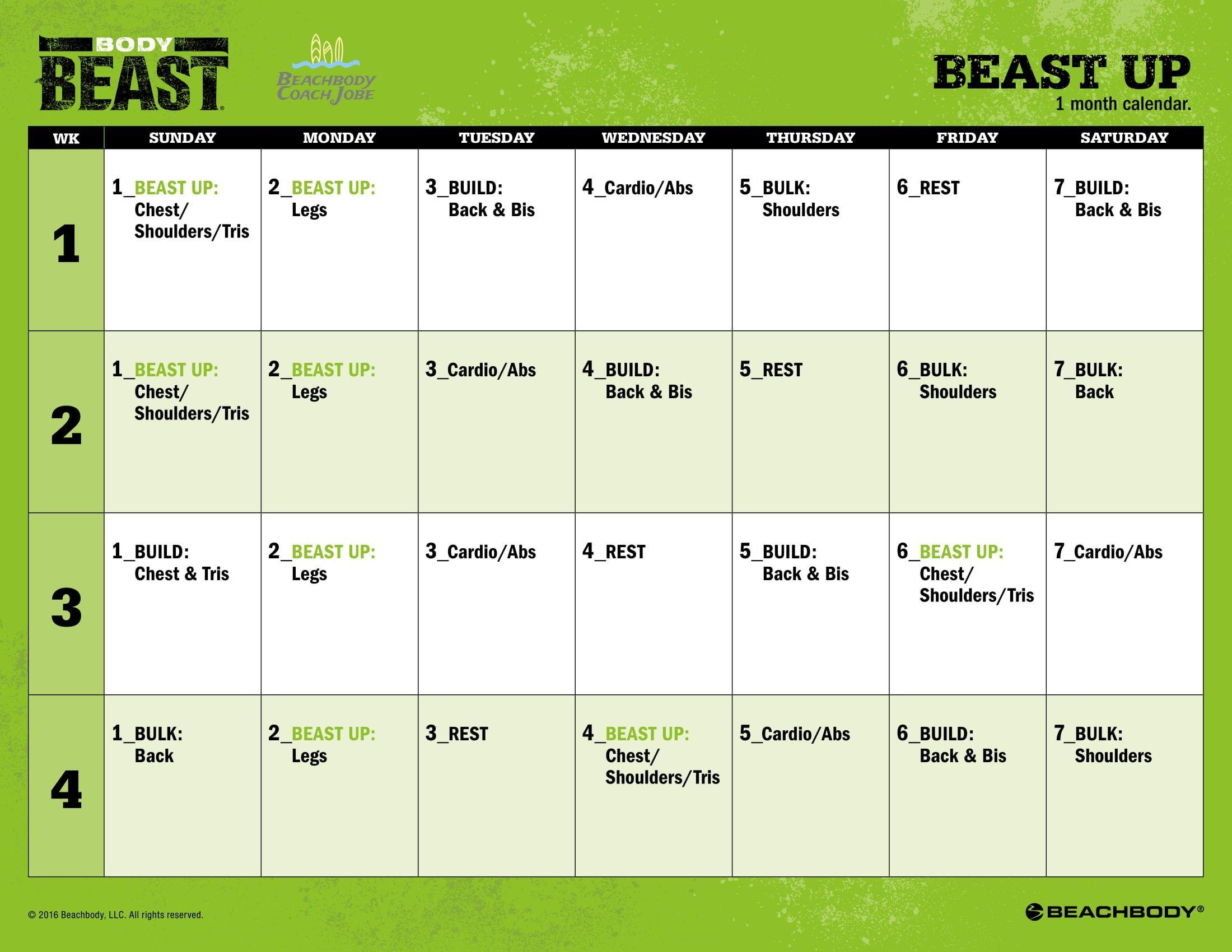 Body Beast Beast Up Calendar By Beachbody The Creators Of