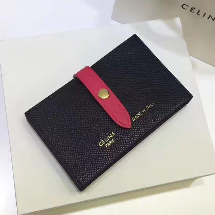 Celine strap medium card holder in grained calfskin black
