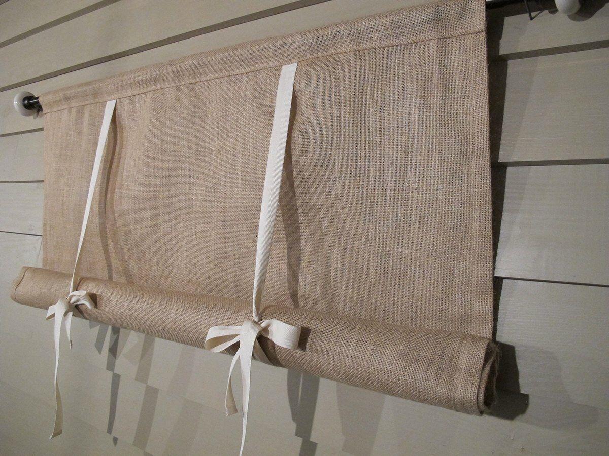 Natural Burlap 36 Inch Long Burlap Curtain Blind Swedish