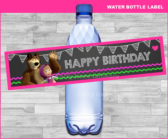 PERSONALISED MASHA AND THE BEAR WATER LABELS BIRTHDAY CHILDREN PARTY FAVOURS