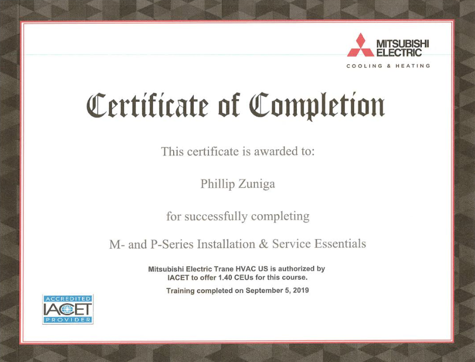 We Recently Completed A Certification Course For Mitsubishi