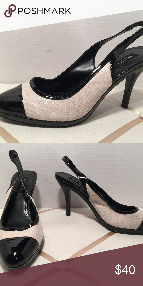 826b01822fc White House Black Market Heels White House Black Market Olivia Black Patent  Leather and Beige Snake Textured Platform Sling White House Black Market  Shoes ...