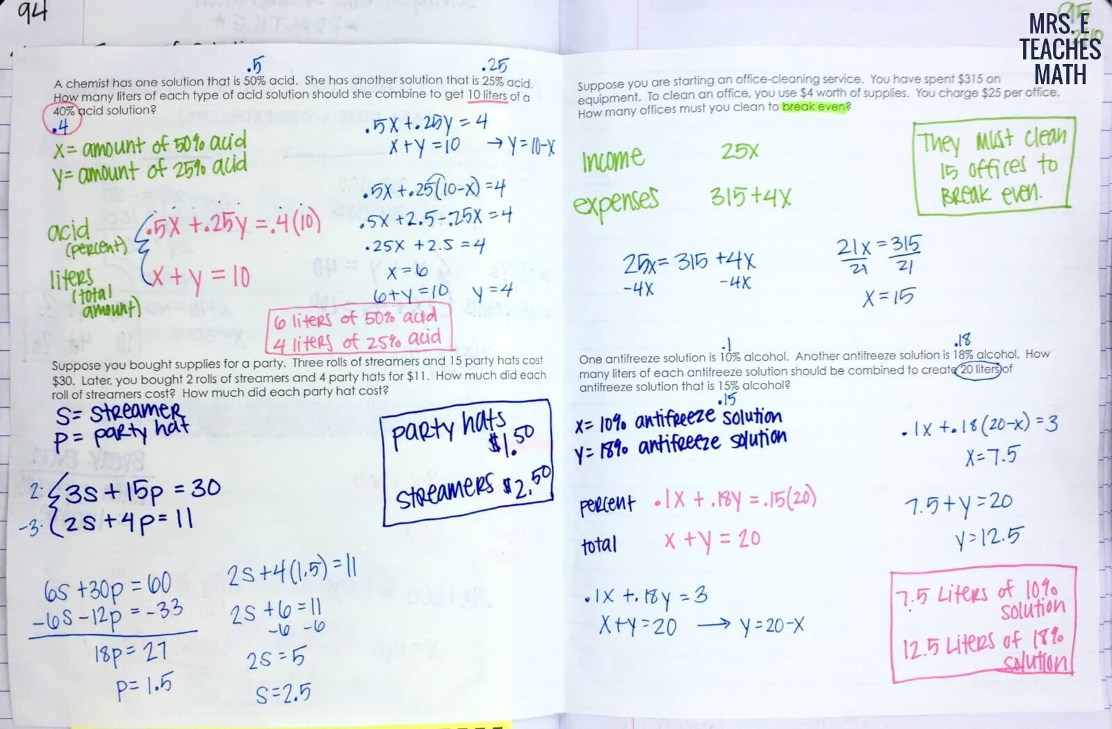 Systems Of Linear Equations Word Problems Inb Page Algebra