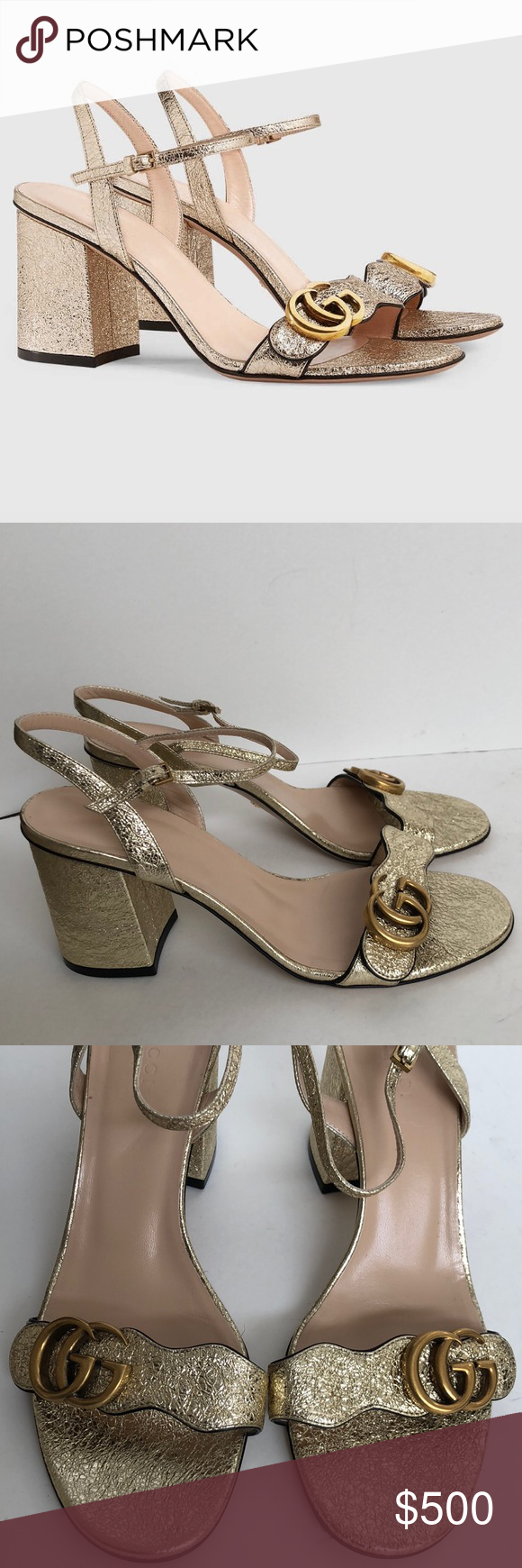aef026d4470 Gucci Marmont metallic laminate heels sandals 38.5 Pre-owned authentic Gucci  Marmont Metallic Laminate Leather