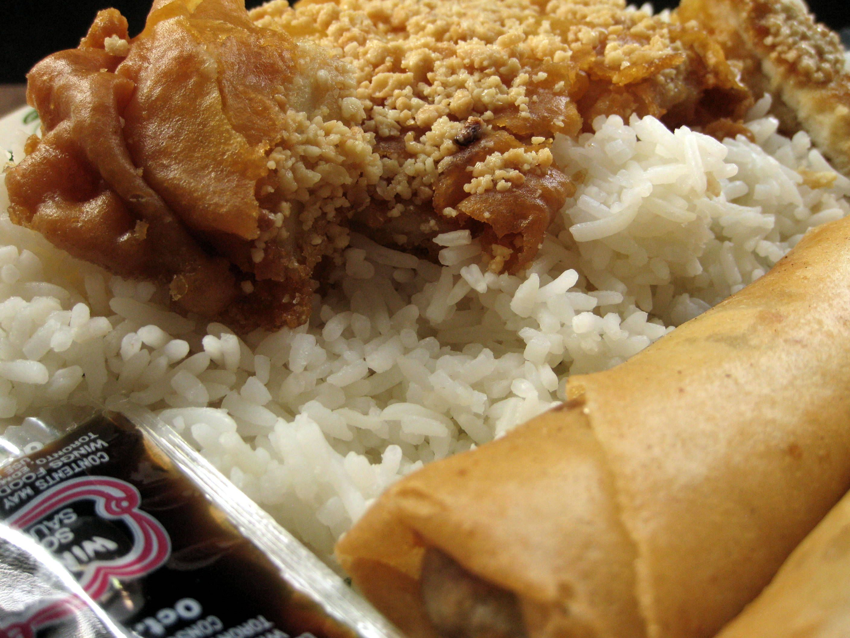 April 5 - lunch (almond chicken, eggrolls and white rice) #photoadayApril with @fatmumslim