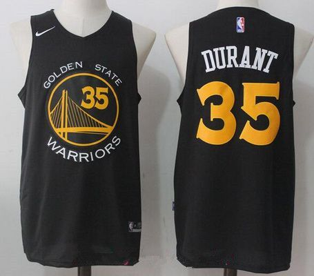 Golden State Warriors #35 Kevin Durant Black with Yellow 2017-2018 ...