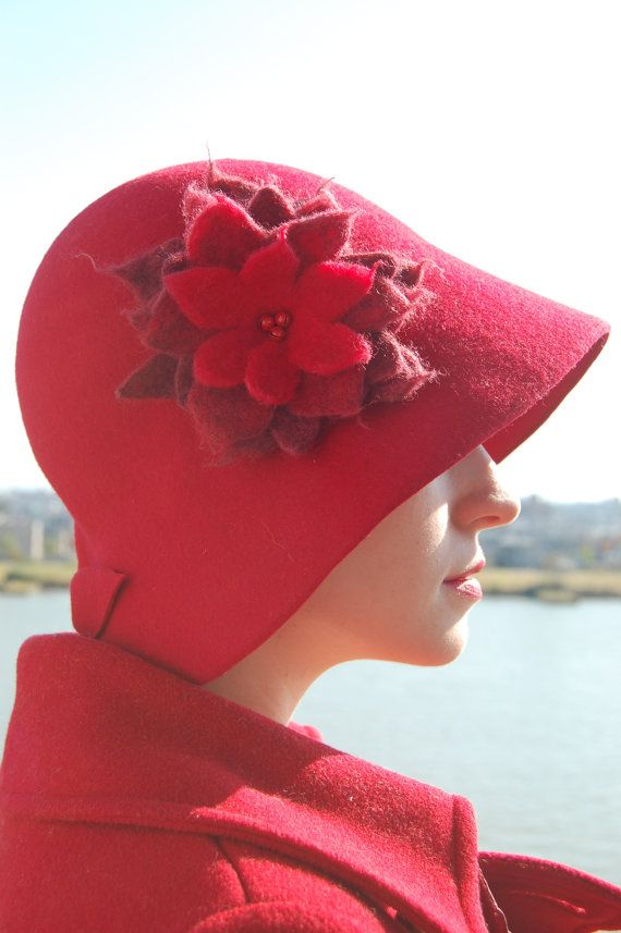 Red Cloche felt hat with red felt flower by RedDragonflyAKATOMBO, £97.00