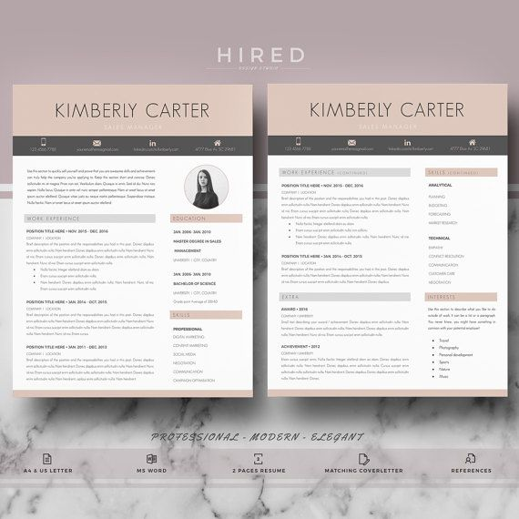 Modern Resume Template Modern Cv For Ms Word Resume  Career