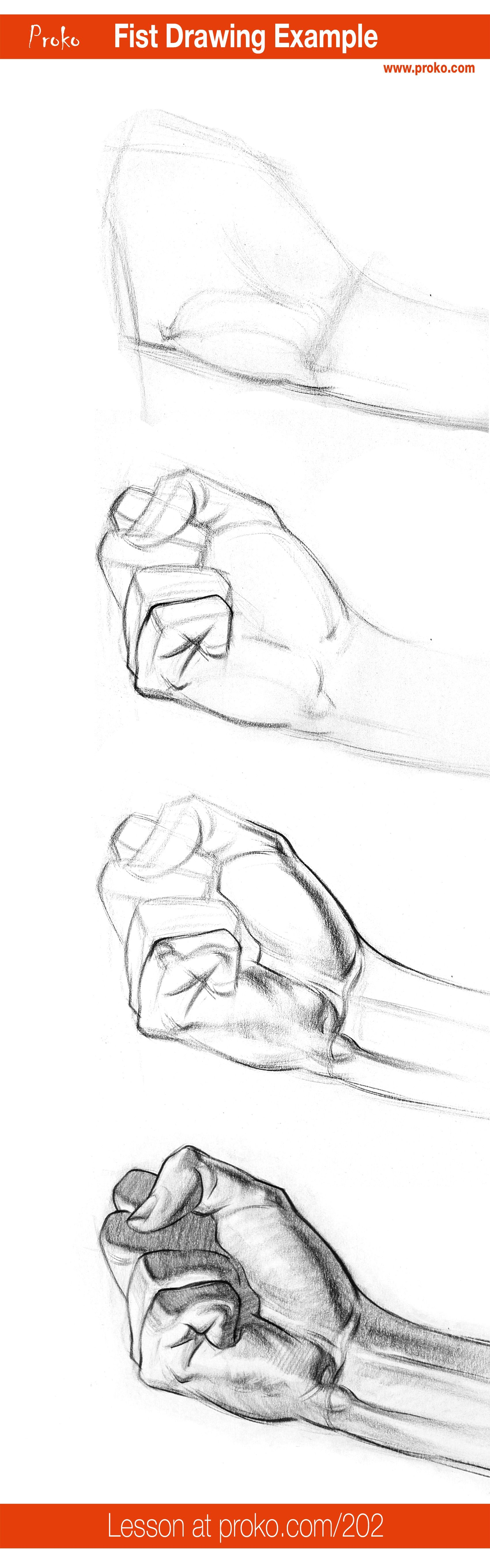 How to Draw a Fist – Hand Drawing Example | Anatomy, Drawings and ...