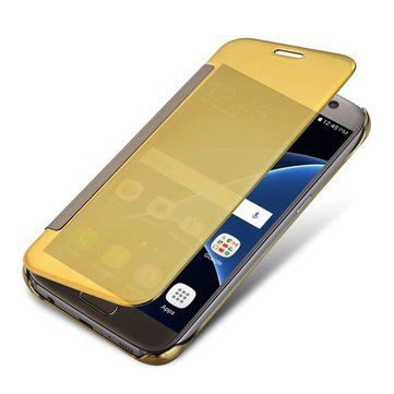 Electroplating Acrylic Mirror PC Smart Sleep Flip Full Body Shockproof Case For Samsung Galaxy S7 Edge