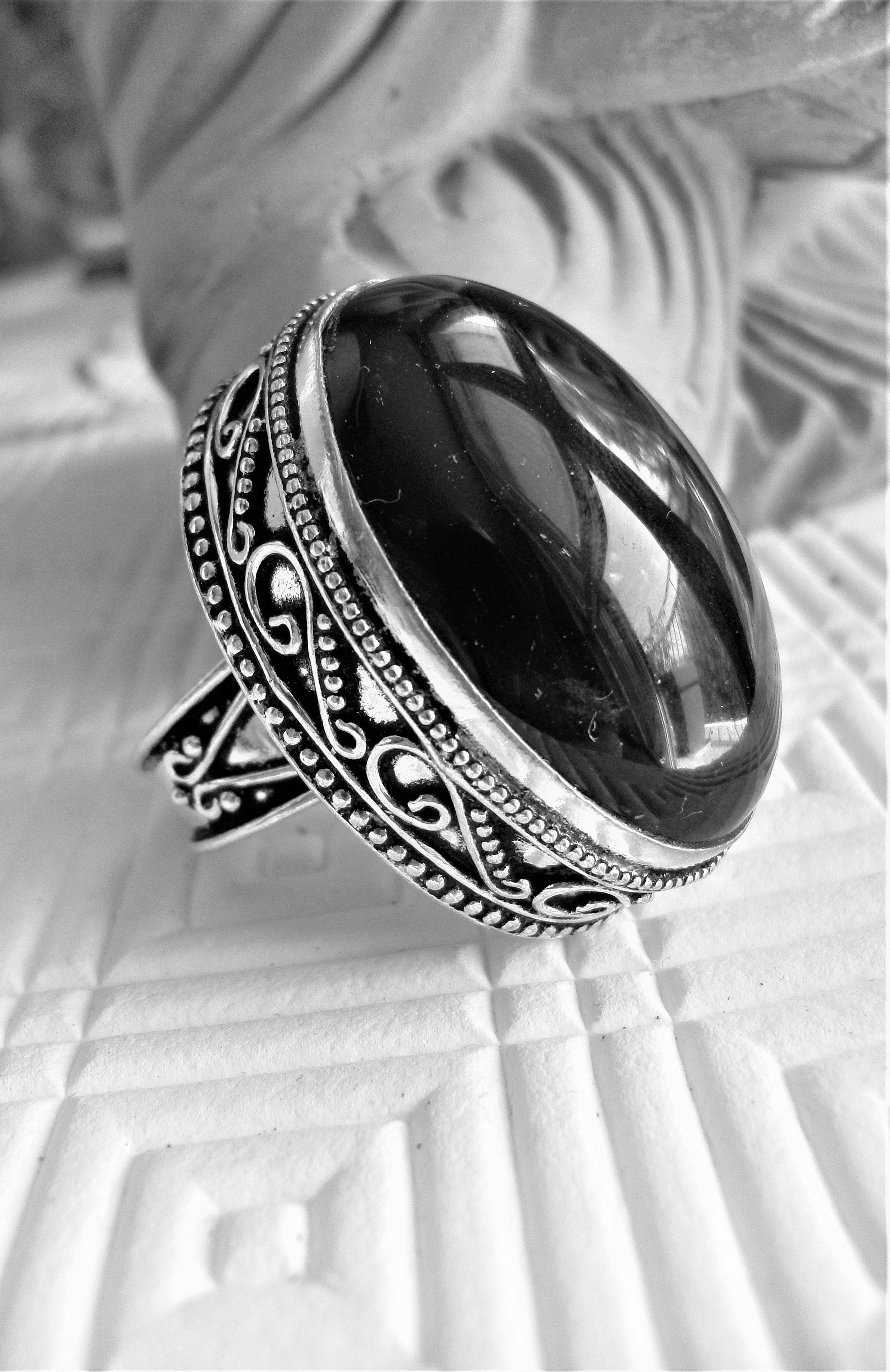 c44df1675e5 Big Sterling Silver and black Onyx ring for Man