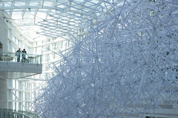 "BALLISTIC ARCHITECTURE MACHINE, WINTERGARDEN INSTALLATION SHENYANG CHINA: ""the project was borne out of a model made from preposterous materials—noodles and sugar."""