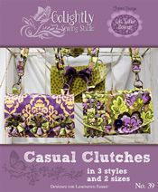 Casual Clutches. Stash your i-gagets and treasures behind retro flowers, buttons, over-sized bows, rows of pleats and metal hardware.   Practicality has never been s chic. The clutches feature a long, adjustable strap and inside pockets. Flexible flaps with magnetic snaps keep things tucked away but easly accessible. http://www.kayewood.com/item/Casual_Clutches_Pattern_in_3_Styles_and_2_Sizes/1145 $14.00