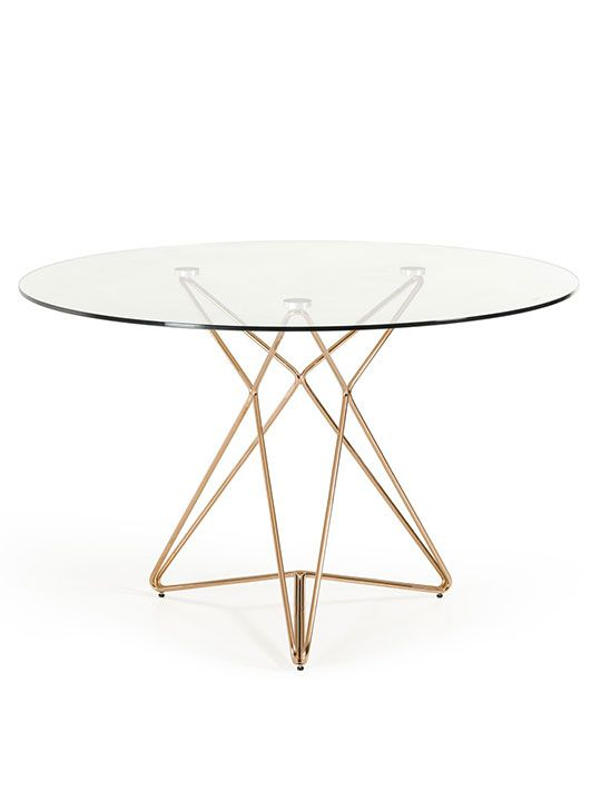 Symmetry Rose Gold Glass Table Modern Furniture Brickell