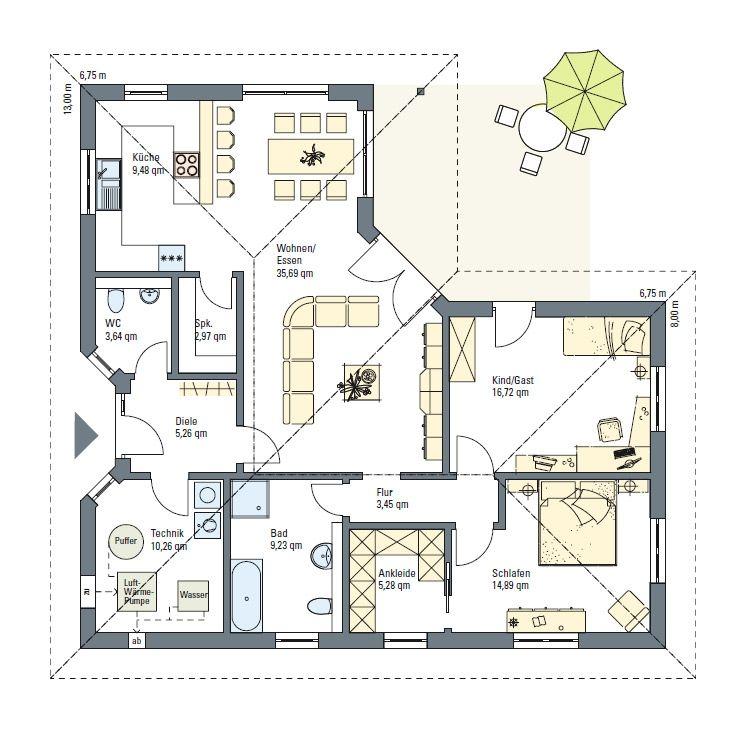 bungalow 120 bungalow fertighaus energiesparhaus von b b haus house designs pinterest. Black Bedroom Furniture Sets. Home Design Ideas