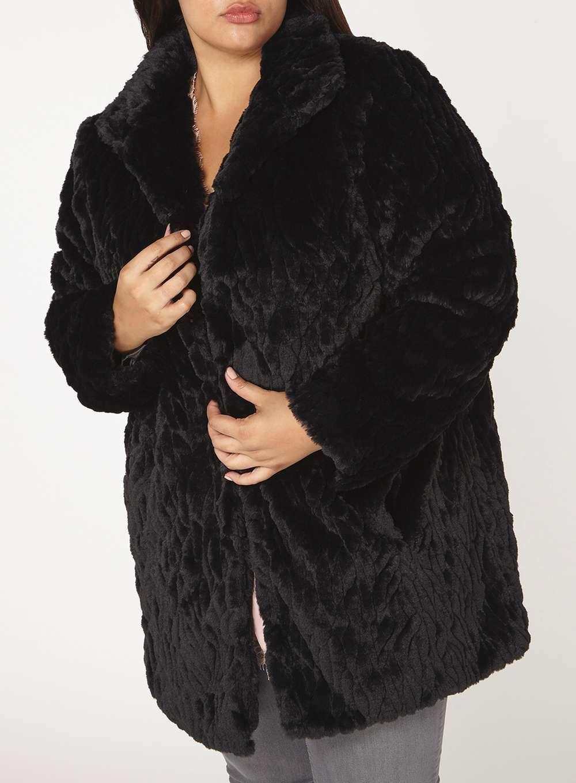 Womens DP Curve Plus Size Black Longline Faux Fur Coat- Black 9e672797b2