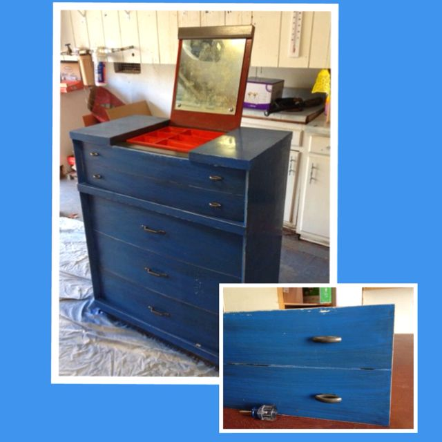 Refinished Dresser, old gold hardware sprayed with Rustoleum hammered metal spray paint