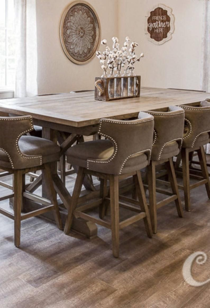 Counter height x style wood farmhouse dining table etsy