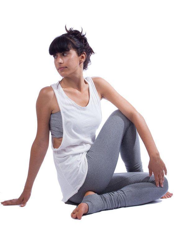 8f49053b48e4d8 Organic Cotton Yoga Vest - Loose Racerback Yoga Tank - Candy Sprinkled  White Yoga Top
