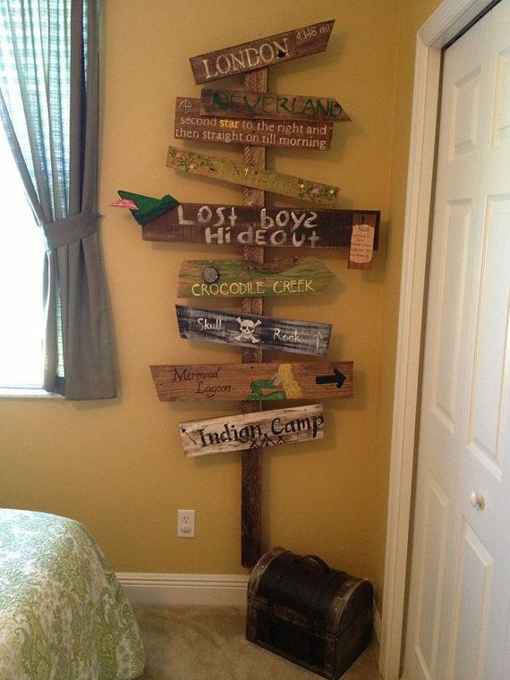 Customized Directional Sign Wooden Mile Marker Peter Pan Neverland ...