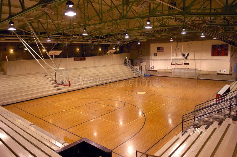 School Gym. Old school gymnasium with basketball court ,