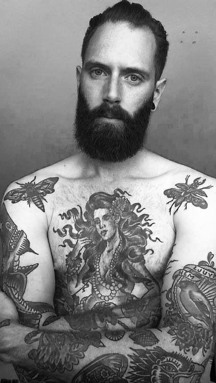 Men Hair and Beard Style Tattoo