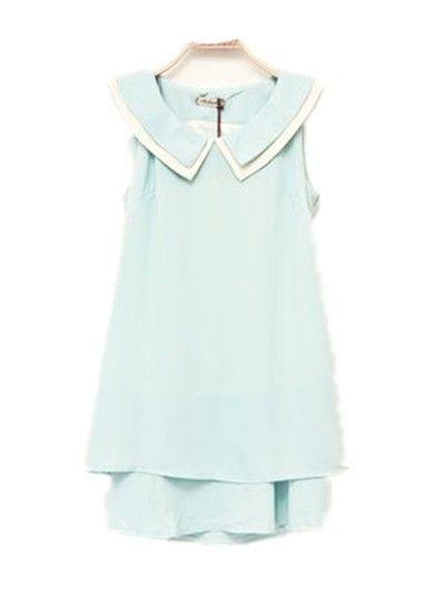 Back Bow Sleeveless Dress Blue