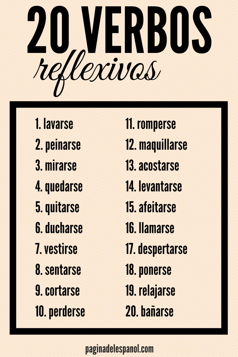 20 Verbos Reflexivos Spanish Grammar Learning Spanish