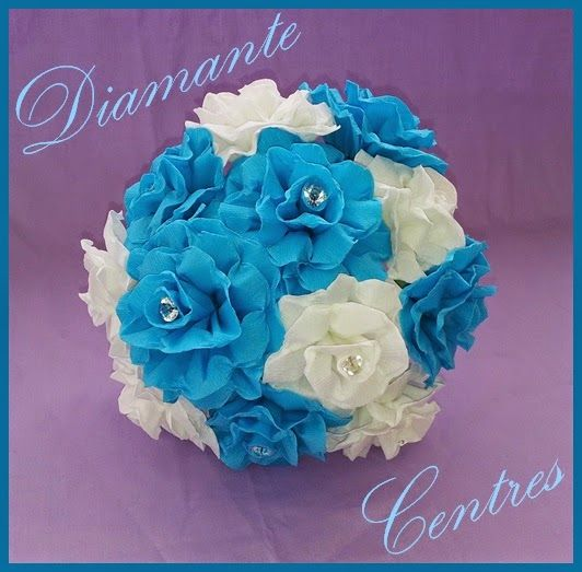 Paper flower wedding bouquets with diamante centres