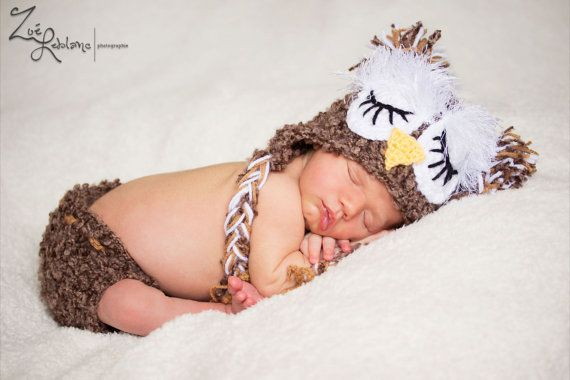 SLEEPING OWL Baby Costume -  hat and diaper cover set - acrylic/ boucle - Made To Order. $44.00, via Etsy.