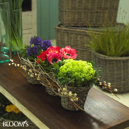 Tischdeko frühlingsblumen im glas  Körbereihe mit Frühlingsblumen | florystyka | Pinterest ...