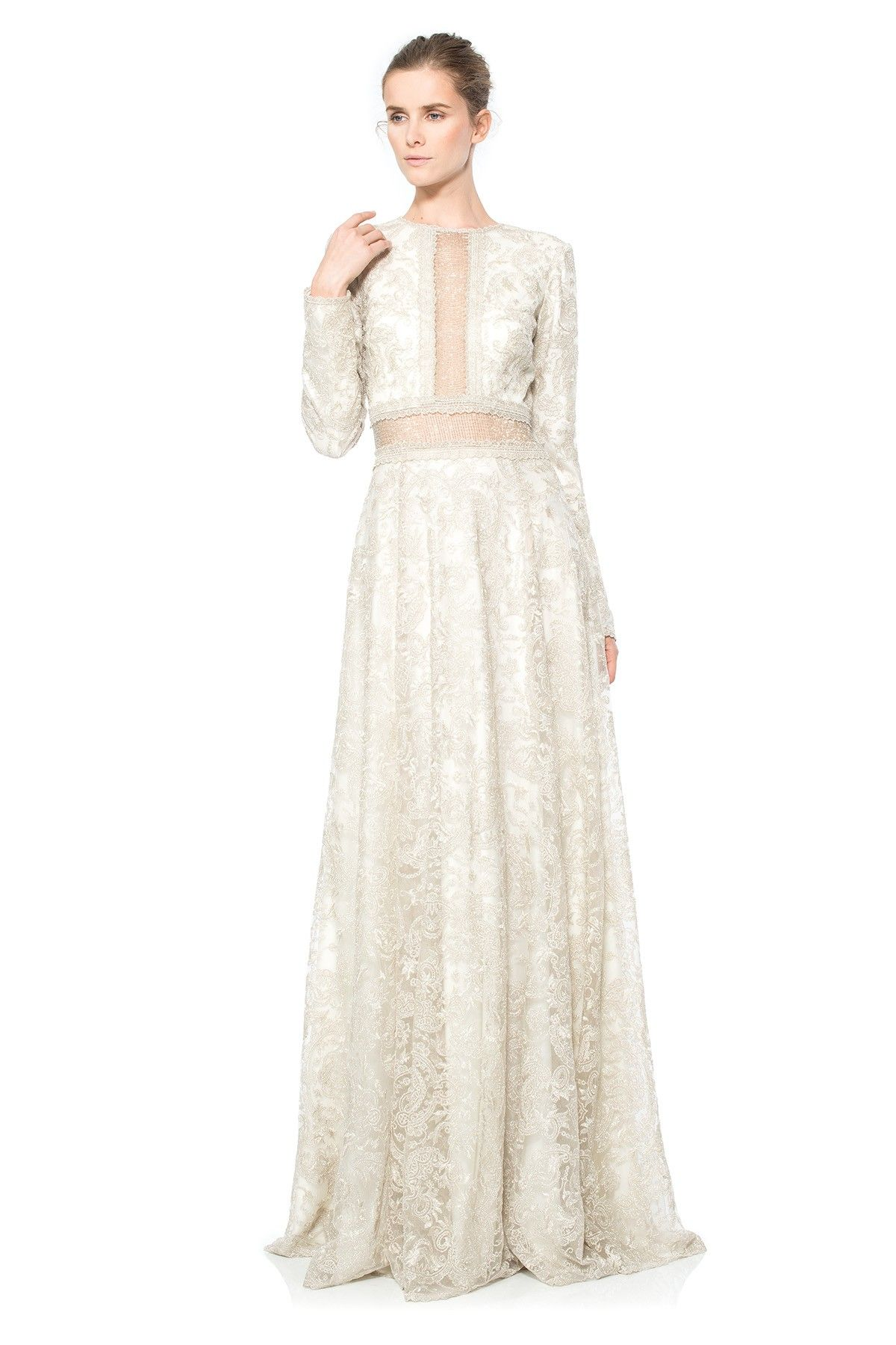 Silver Chain Mesh Long Sleeve Gown | Tadashi Shoji | Promenade ...
