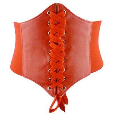 PU Leather Fashion Women Lace Up Corset Bandage Solid Waist Belt Stretchy