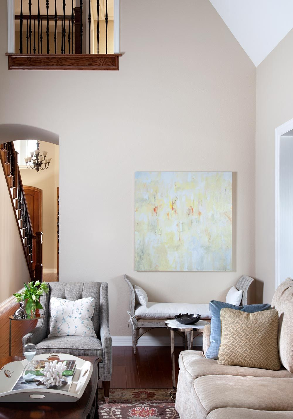 Abstract Room Designs: Neutral Living Room With Large Hanging Abstract Art Canvas