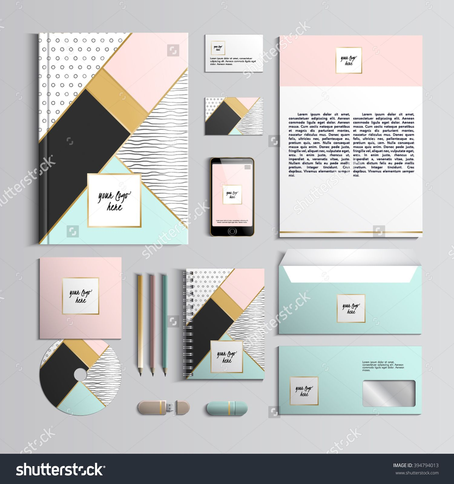 Corporate identity template in pink and turquoise colors with ...