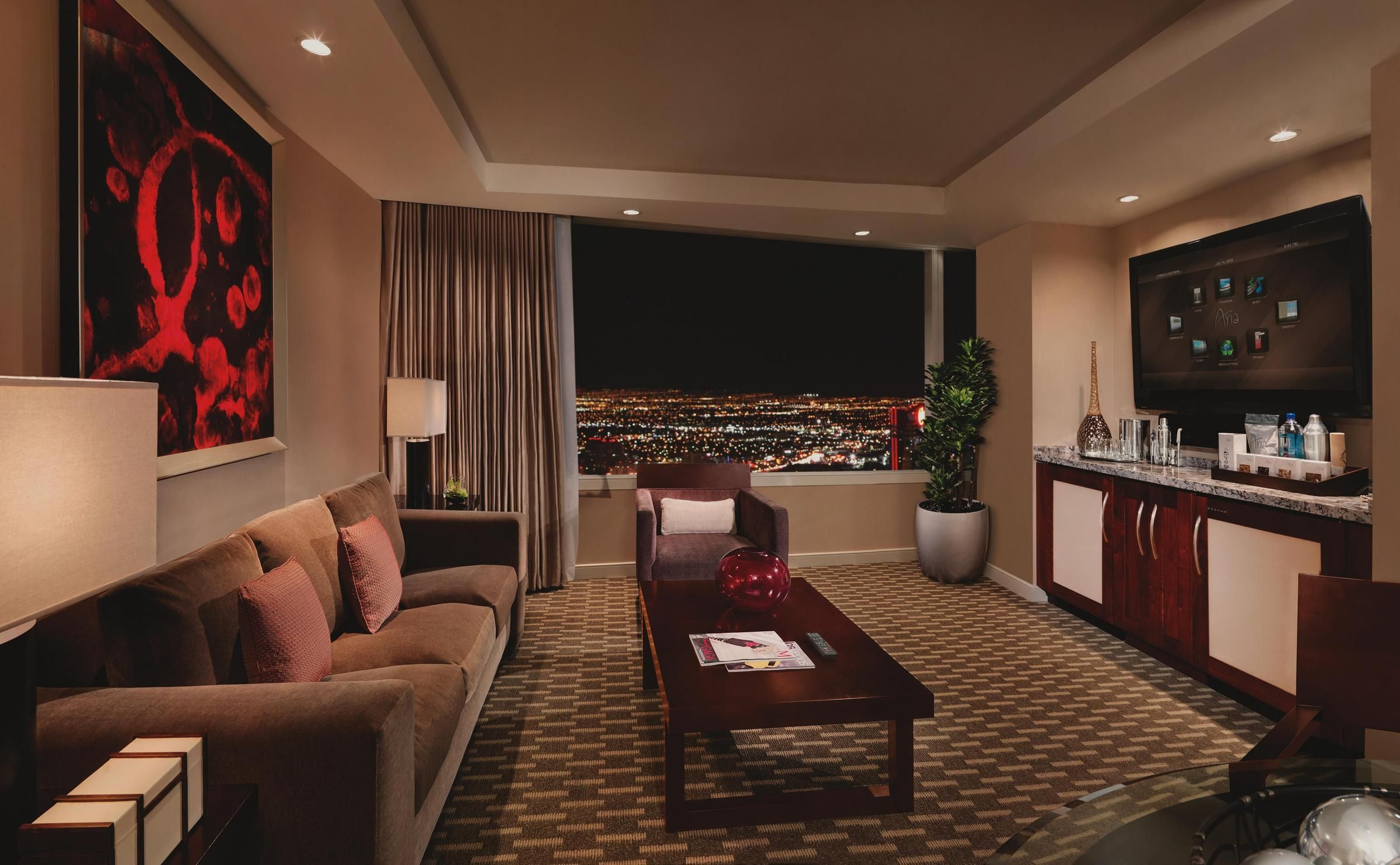 Arias tower suite offers an intimate living area with custom