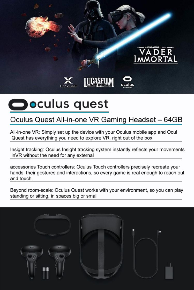 Details About Brand New Oculus Quest All In One Vr Gaming Headset