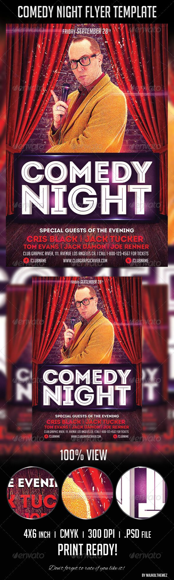 Comedy Night Flyer Template – Comedy Show Flyer Template