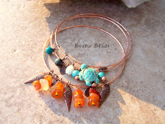 Copper Bangle Bracelet Stacking Set with Turquoise by BeanzBeads, $25.00