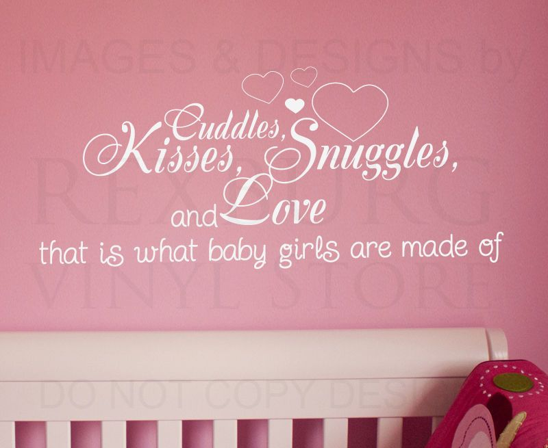 Wall Decal Quote Sticker Cuddle Kisses Snuggles And Love Baby Girlu0027s Room  K30