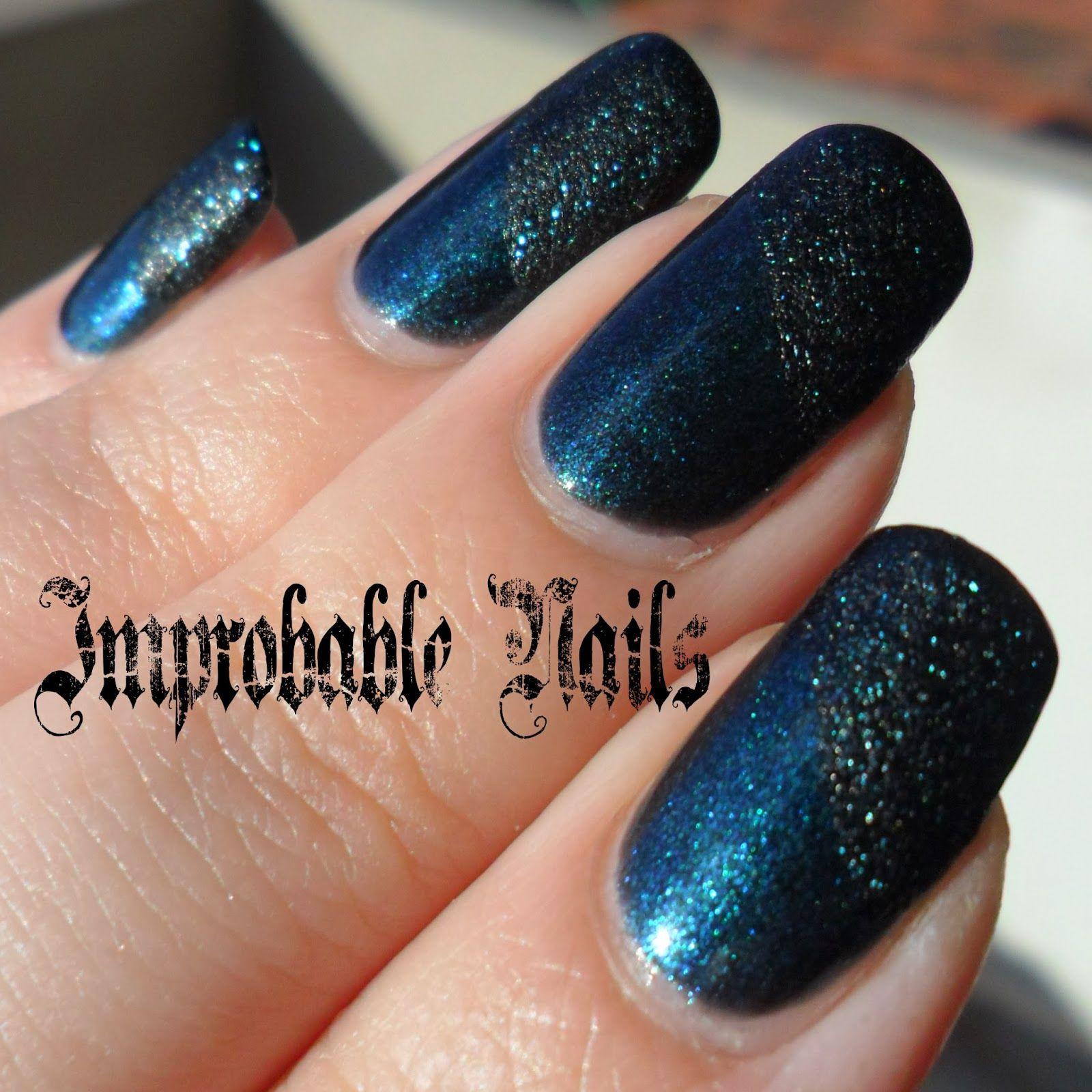 "Improbable Nails: ""Diagonal Eclipse"" nails"