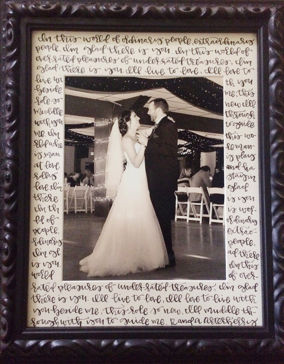 11x14 Picture Frame Matte With 8x10 Picture Hand Lettered Wedding Vows Or Song Lyrics Hand Lettered Wedding Wedding Vows Wedding Picture Frames