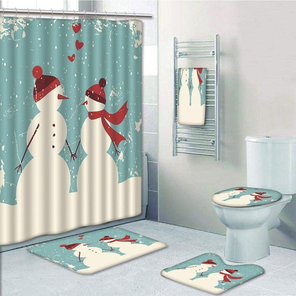 Christmas Snowman Woman Romantic Couple In Love Holding Hands Grunge Display In 2020 With Images Towel Rug Printed Shower Curtain Contour Mat
