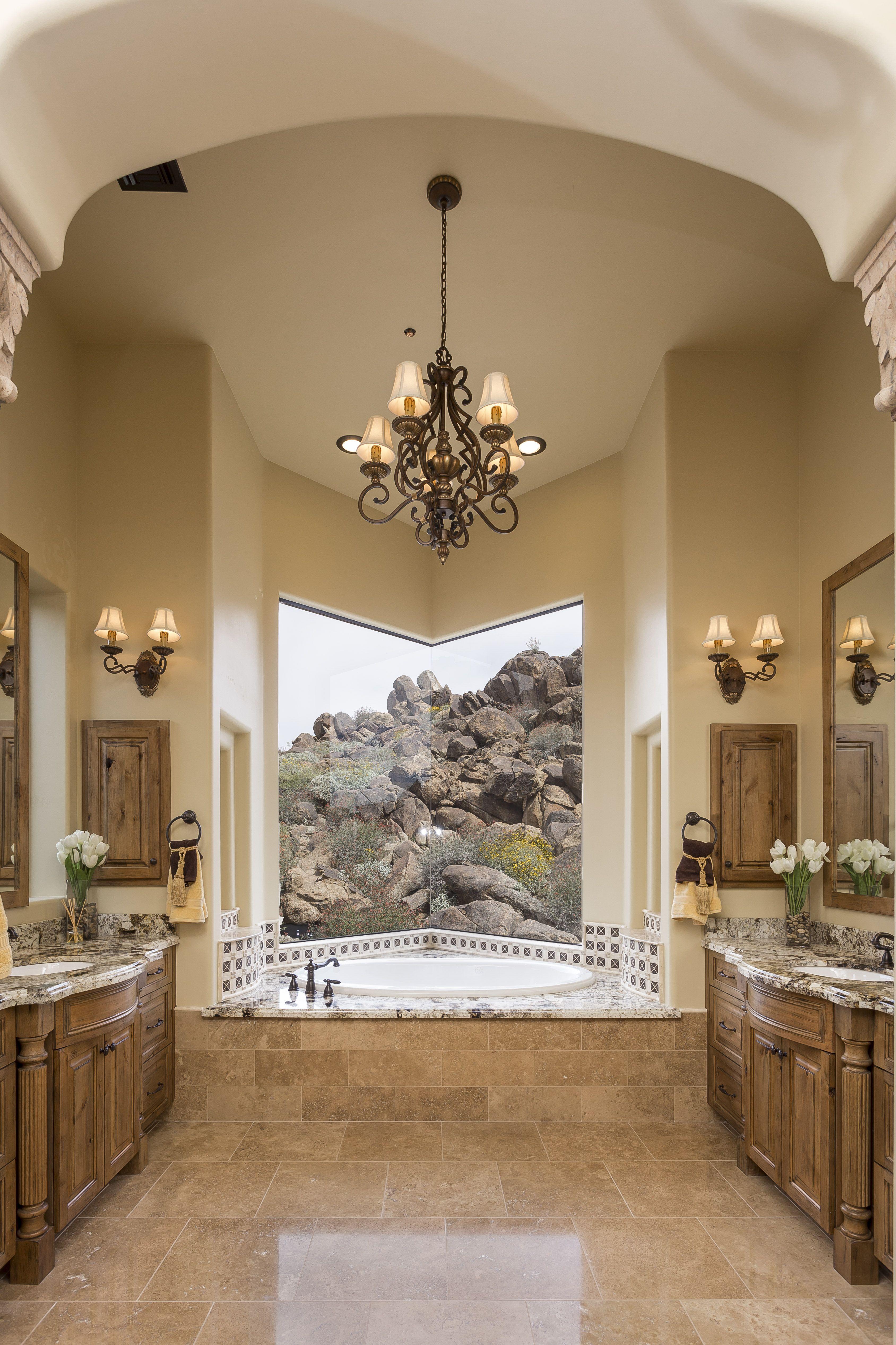 Photo On Butt glass window Master bath Chandelier Master suite custom Master bath