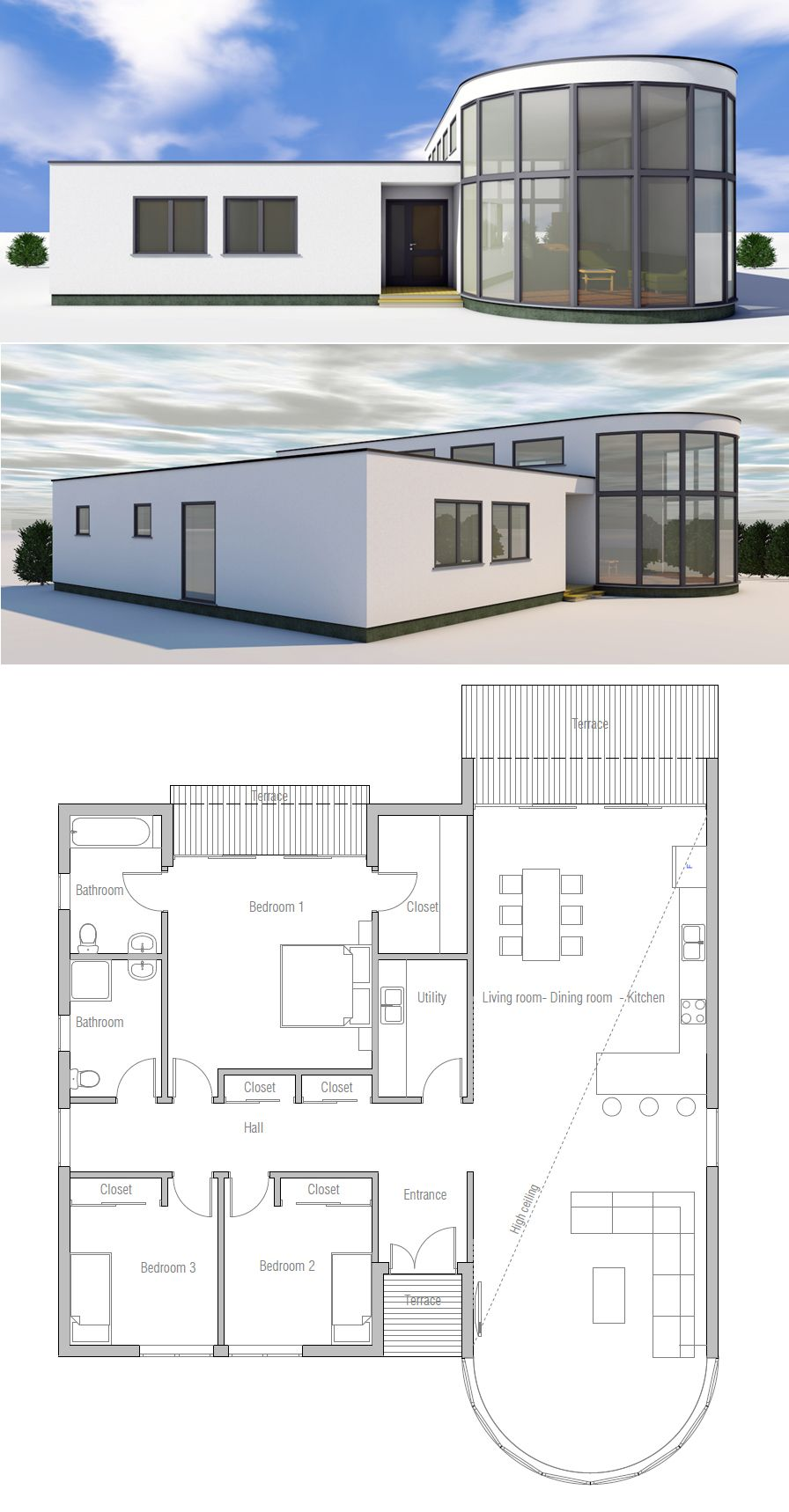 Grundrisse wohnen kleines haus pläne kleine häuser haus design architektur plan grundrisse flachdach home pläne