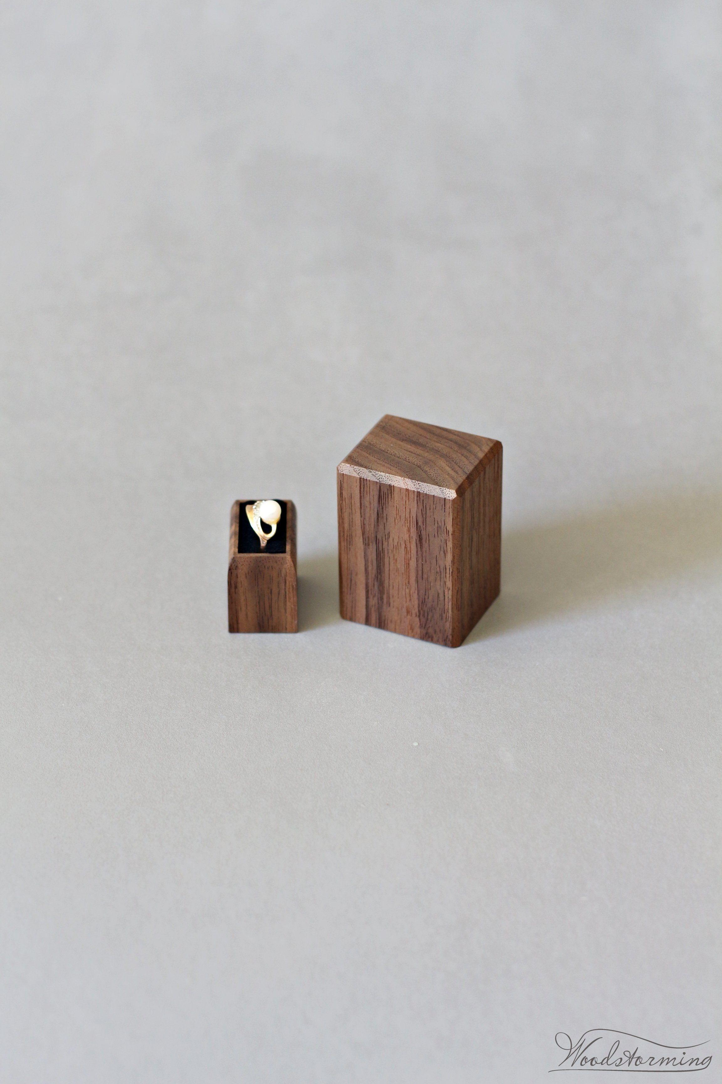 Wood Engagement Ring Box Proposal Ring Holder Minimalist Ring Display Wood Ring Box Engagement Engagement Ring Box Proposals Engagement Ring Box