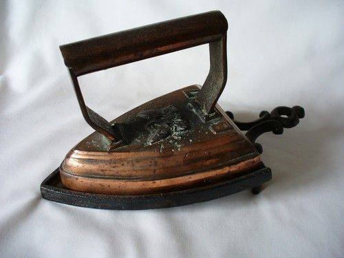 Antique Coppered Clothes Iron And Trivet-door stop and to go off-grid